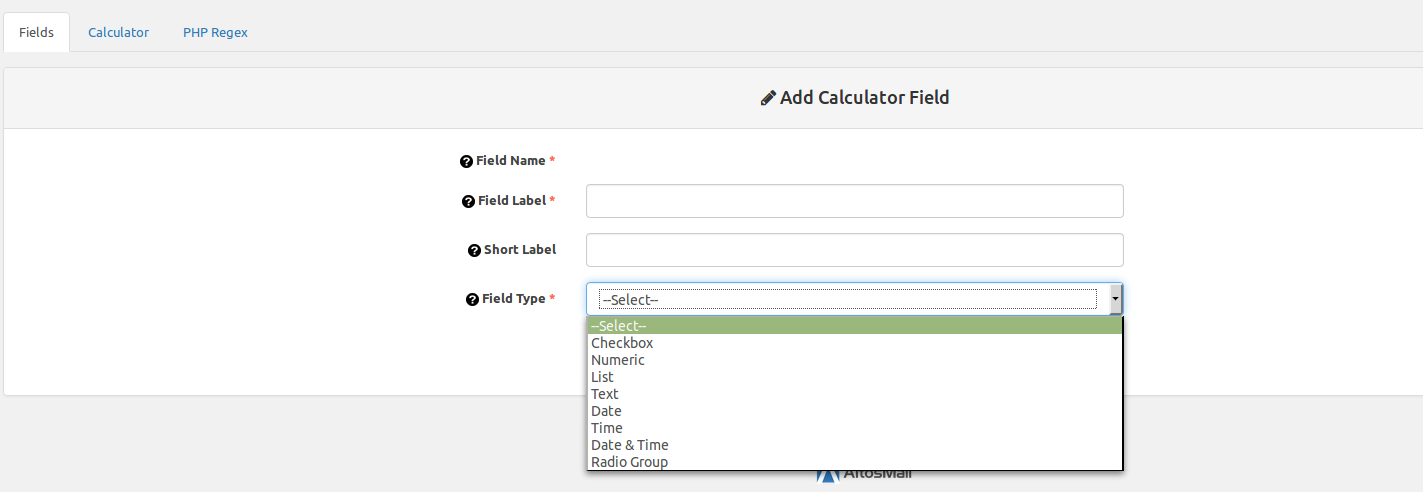 Image of adding a calculator field using WPC