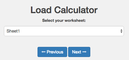 Image from selecting excel worksheet for the calculator using HPC